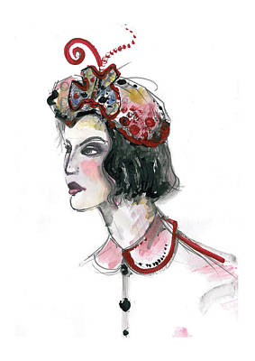 Mixed Media - Original Watercolor Fashion Illustration by Marian Voicu