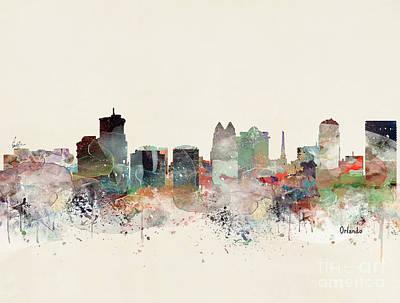 Painting - Orlando Florida Skyline by Bri B