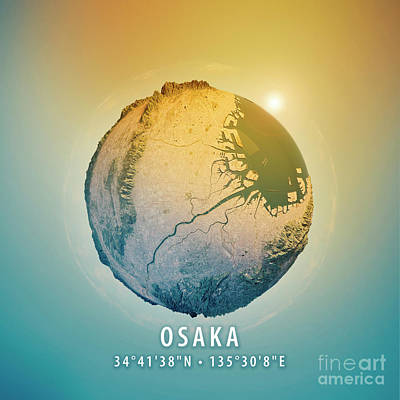 Cartography Digital Art - Osaka 3d Little Planet 360-degree Sphere Panorama by Frank Ramspott