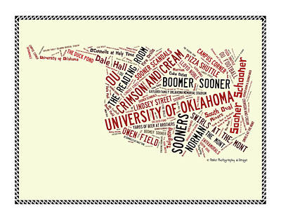 Oklahoma University Wall Art - Digital Art - Ou Word Art University Of Oklahoma by Roberta Peake
