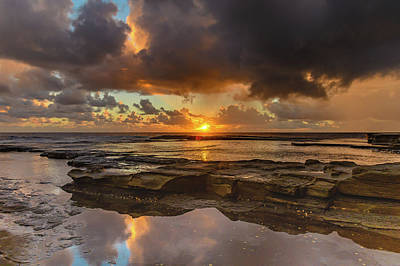 Overcast And Cloudy Sunrise Seascape Art Print
