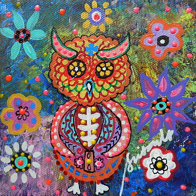 Mexican Painting - Owl Day Of The Dead by Pristine Cartera Turkus