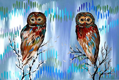 Woman And Owl Painting - 2 Owls by Cathy Jacobs