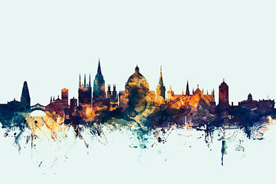 Great Britain Digital Art - Oxford England Skyline by Michael Tompsett