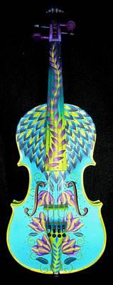 Painted Violin Print by Elizabeth Elequin