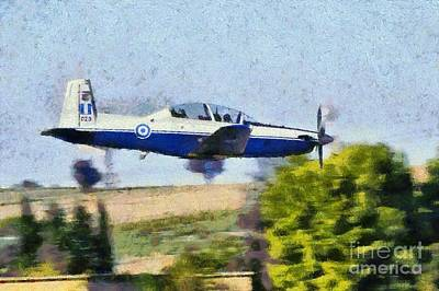Painting - Painting Of Daedalus Demo Team Of Hellenic Air Force Flying A T-6a Texan II by George Atsametakis