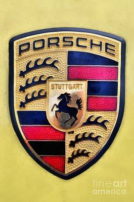 Badge Painting - Painting Of Porsche Badge by George Atsametakis
