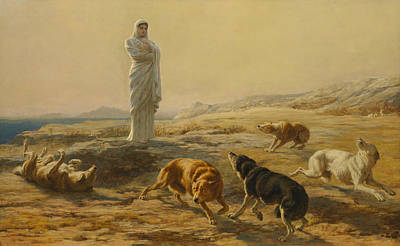 Briton Riviere Painting - Pallas Athena And The Herdsman's Dogs by Briton Riviere