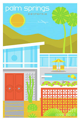 Digital Art - Palm Springs Retro Travel Poster by Jim Zahniser