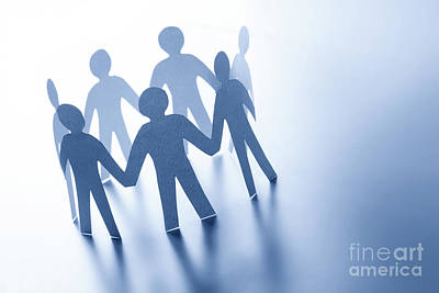Paper Photograph - Paper People Standing Together Hand In Hand. Team, Glabal Business Connection Concept by Michal Bednarek