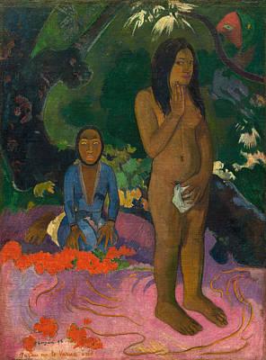 Symbolic Painting - Parau Na Te Varua Ino, Words Of The Devil by Paul Gauguin