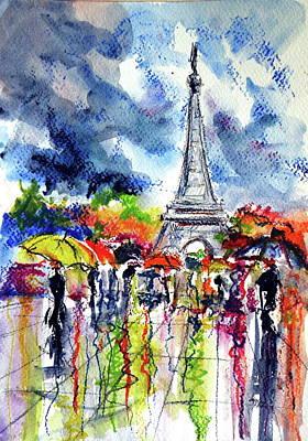 Painting - Paris In Rain  by Kovacs Anna Brigitta