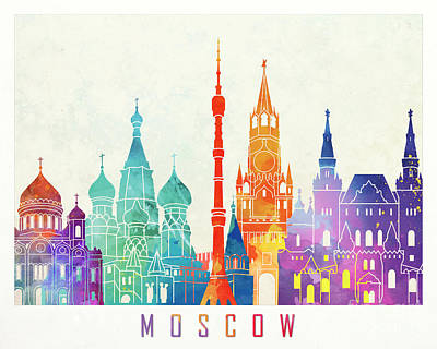 Moscow Skyline Wall Art - Painting - Paris Landmarks Watercolor Poster by Pablo Romero