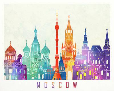 Moscow Skyline Painting - Paris Landmarks Watercolor Poster by Pablo Romero