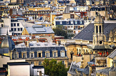 Paris Skyline Royalty-Free and Rights-Managed Images - Paris rooftops by Elena Elisseeva