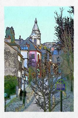Sacre Coeur Digital Art - Parisian Street Scene by David Pringle