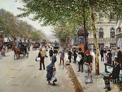 Horse And Carriage Painting - Parisian Street Scene by Jean Beraud
