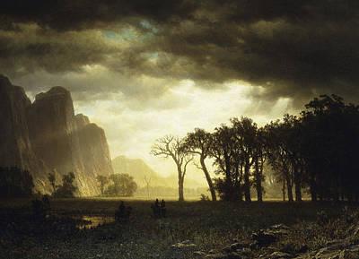 Yosemite Painting - Passing Storm In Yosemite by Albert Bierstadt