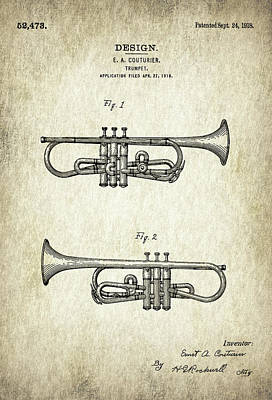 Trumpet Digital Art - Patent Drawing For The 1918 Trumpet By E. A. Couturier by Jose Elias - Sofia Pereira