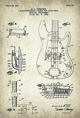 Patent Drawing For The 1959 Electromagnetic Pickup For Lute Type Musical Instrument By C. L. Fender Art Print by Jose Elias - Sofia Pereira