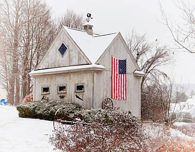Blue Barn Doors Digital Art - Patriotic Barn by Tricia Marchlik