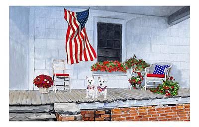 Painting - Patriotic Westies by Ann Kallal