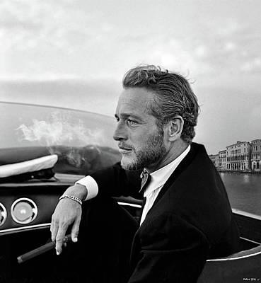 Paul Newman, Movie Star, Cruising Venice, Enjoying A Cuban Cigar Art Print