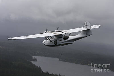 Transportation Royalty-Free and Rights-Managed Images - Pby Catalina Vintage Flying Boat by Daniel Karlsson