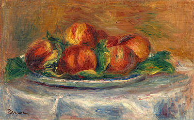 Peaches Painting - Peaches On A Plate by Pierre-Auguste Renoir