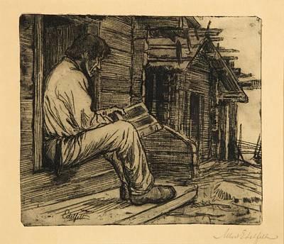 Peasant Reading The Bible Art Print by Albert Edelfelt