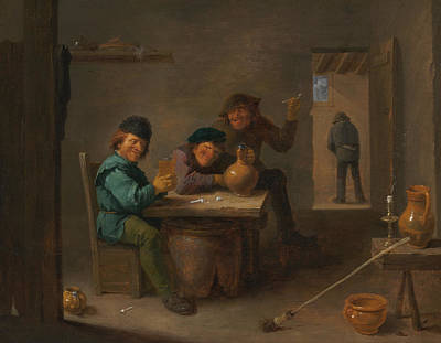 Alcohol Painting - Peasants In A Tavern by David Teniers the Younger