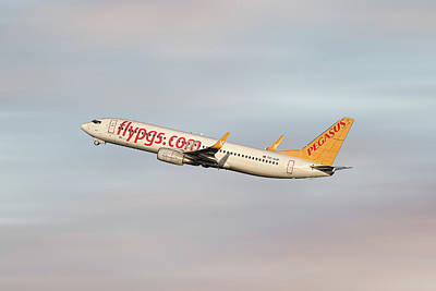 Pegasus Wall Art - Mixed Media - Pegasus Airlines Boeing 737-82r by Smart Aviation