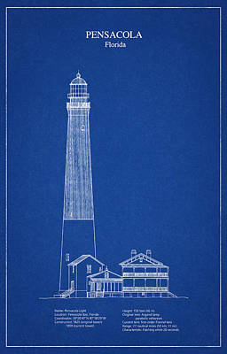 Pensacola Lighthouse - Florida - Blueprint Drawing Art Print