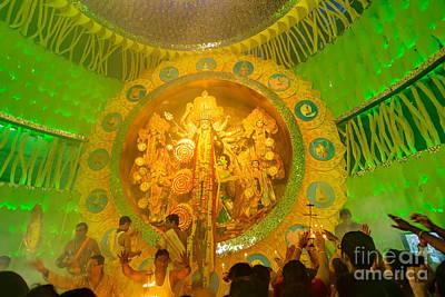 People Enjoying Inside Durga Puja Pandal Durga Puja Festival Art Print by Rudra Narayan  Mitra