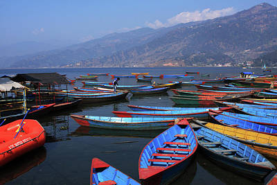 Photograph - Colourful Boats On Phewa Lake, Pokhara, Nepal by Aidan Moran