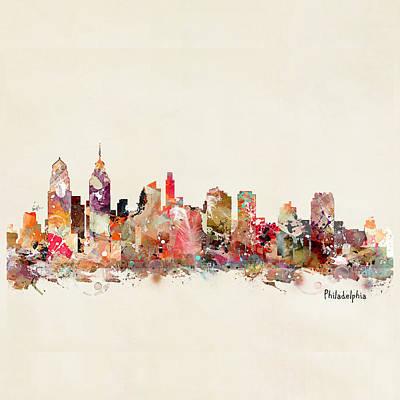 Painting - Philadelphia City Skyline by Bri B