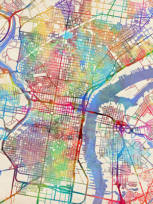 Pennsylvania Digital Art - Philadelphia Pennsylvania City Street Map by Michael Tompsett