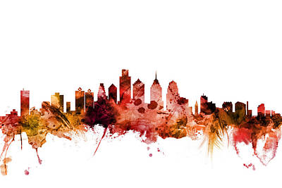 Digital Art - Philadelphia Pennsylvania Skyline by Michael Tompsett