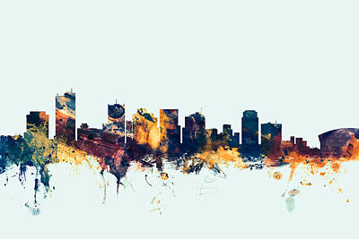 Arizona Digital Art - Phoenix Arizona Skyline by Michael Tompsett