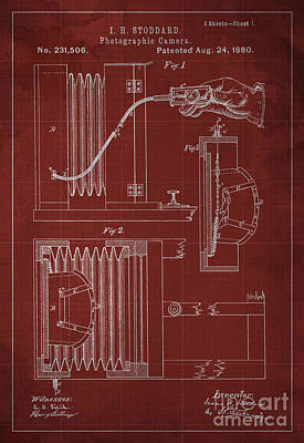 Vintage Camera Painting - Photographic Camera Patent Year 1880 by Drawspots Illustrations