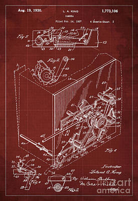 Vintage Camera Drawing - Photographic Camera Patent Year 1927 by Pablo Franchi