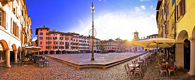 Photograph - Piazza San Giacomo In Udine Sunset Panoramic View by Brch Photography