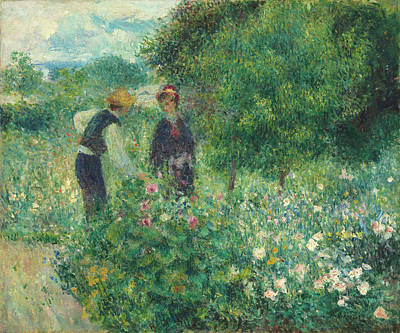 Painting - Picking Flowers by Auguste Renoir