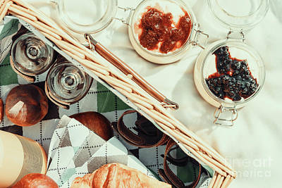Picnic Basket With Fruits, Orange Juice, Croissants And No Bake Blueberry And Strawberry Jam Art Print