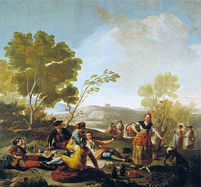 Picnic Painting - Picnic On The Banks Of The Manzanares by Francisco Goya