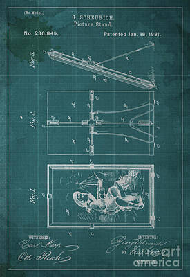 Vintage Camera Painting - Picture Stand Patent 1881 by Drawspots Illustrations