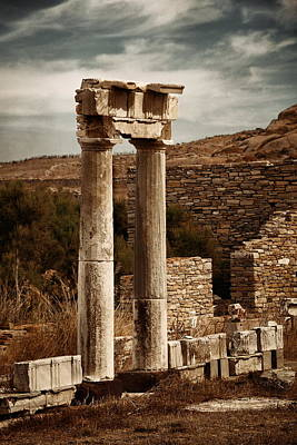 Photograph - Pillar In Historical Ruins In Delos by Songquan Deng