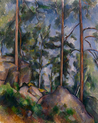 Post-impressionist Wall Art - Painting - Pines And Rocks by Paul Cezanne
