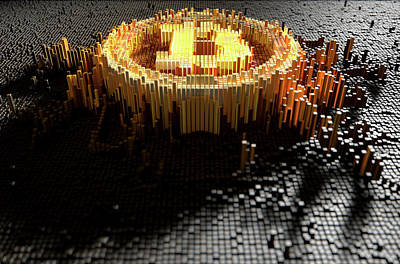 Pixel Bitcoin Concept Print by Allan Swart