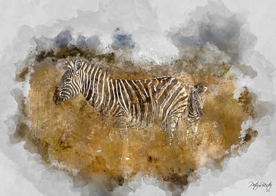 Digital Art - Plains Zebras by Petrus Bester